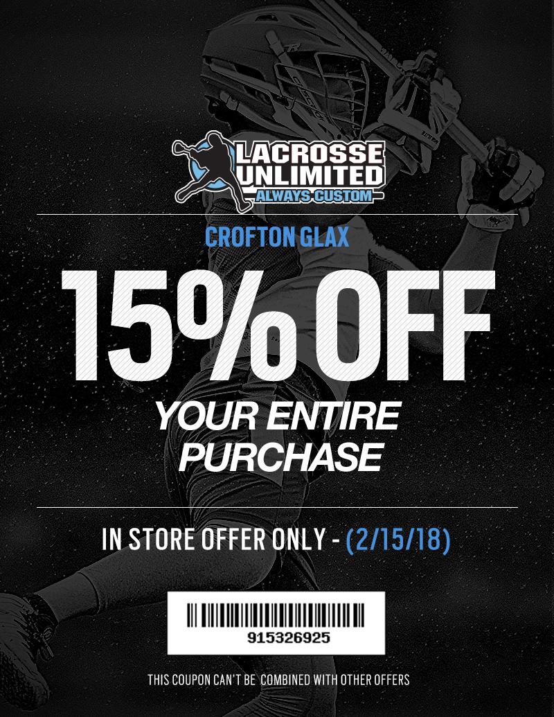 15% Off at Lacrosse Unlimited Just for Crofton GLAX!