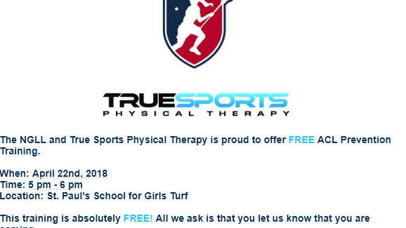 NGLL & True Sports Physical Therapy Offers Free ACL Prevention Training 4/22 5pm-6pm St. Paul's School for Girls Turf