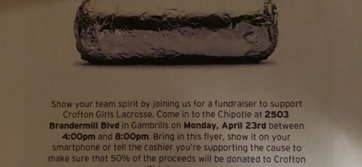 Chipotle Crofton Girls Lacrosse Spirit Night!!  4/23 4PM – 8PM