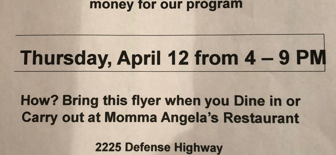 Momma Angela's & Crofton Girls Lacrosse Spirit Night!! 4/12 4PM – 9PM