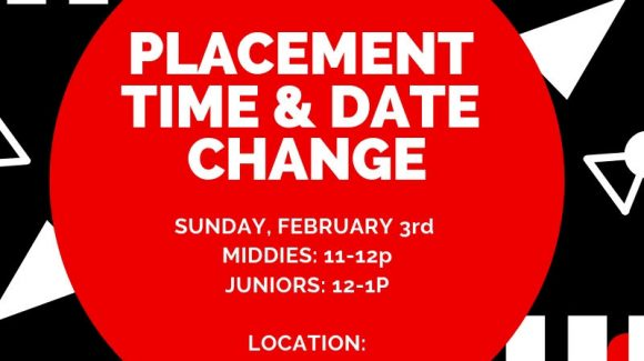 **UPDATED PLACEMENT TIMES MIDDIES & JUNIOR**Sunday Feb 3rd!**11AM – 12PM & JUNIORS 12PM – 1PM***