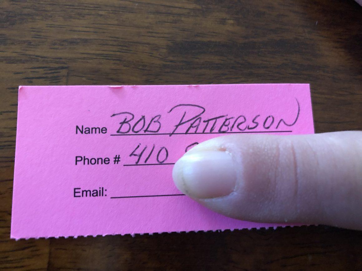 Raffle winner! Bob Patterson!